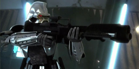 A Mark I Cylon Centurion wields a gigantic rifle