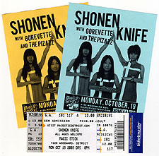 Shonen Knife ticket and concert flyers