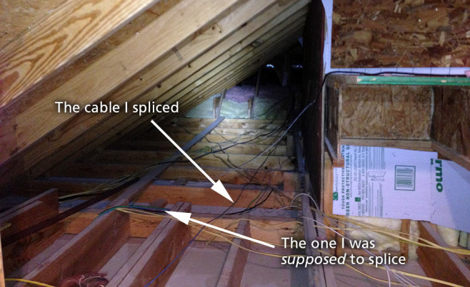 Attic wiring mess